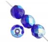 Fire polished 8mm Cobalt Blue Aurora Borealis